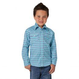 Wrangler Blue 20X Competition Boys Long Sleeve Shirt BJC297B
