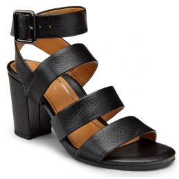 Vionic Blaire Black Leather Heeled Womens Comfort Sandals