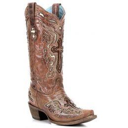 C2853 Cognac/Bone Inlay Cross & Studs Womens Western Cowboy Boots
