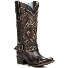 C2932 Copper/Red Studded Harness Corral Womens Western Cowboy Boots