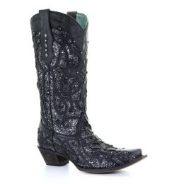 Corral Black Glitter Inlay and Studs Snip Toe Womens Boots C3423