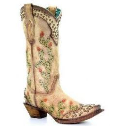 Corral Saddle Nopal Cactus Embroidery and Studs Womens Boots C3463