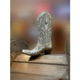 Corral White Glitter Inlay/Stud Womens Western Boots C3598