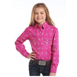 Panhandle Slim White Label Pink Long Sleeve Girls Top C6S-3759