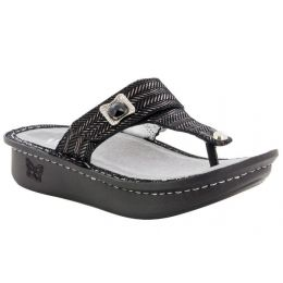 Alegria Black Carina Chained Womens Comfort Thong Sandals CAR-255