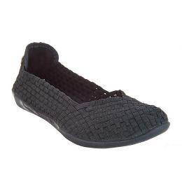 Bernie Mev Catwalk Stretch Elastic Memory Foam Footbed Slip-On Flat Womens Shoes Catwalk-Black