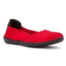 Bernie Mev Catwalk Stretch Elastic Memory Foam Footbed Slip-On Flat Womens Shoes Catwalk-Redsm