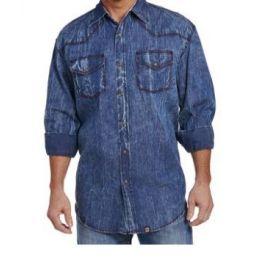 Cowboy Up by Sidran Vintage Wash Denim Snap Mens Shirt CB70704