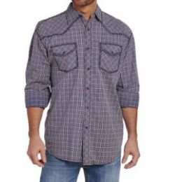 Cowboy Up by Sidran Blue Heavy Stitched Plaid Mens Shirt CB70903