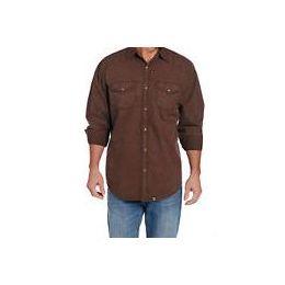 Cowboy Up by Sidran Brown Long Sleeve Vintage Wash Woven Mens Shirt CB71104