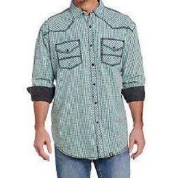 Cowboy Up by Sidran Blue Long Sleeve Vintage Wash Woven Mens Shirt CB71202