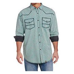 Cowboy Up by Sidran Blue Long Sleeve Vintage Wash Woven Mens Shirt CB71202