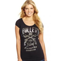 Sidran Cowgirl Up Bullets & Bling Scoop Neck Womens Tee Shirt CG1840