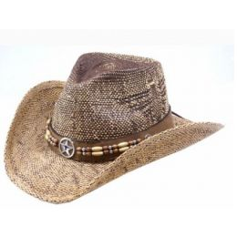 California Hat Company Brown Toyo Hat wtih Star & Bead Band Unisex Western Hat