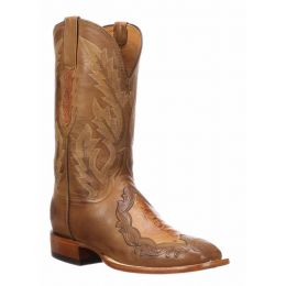 Lucchese Bartley Ostrich Leg Cognac Mens Western Boots CL1048.WF
