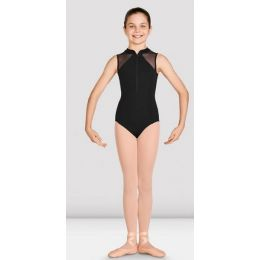 Bloch Girls Black Misty Zip Front Mesh Back Leotard CL2977