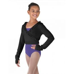 Bloch Black Girl's Wrap Jumper with Flutter Trim and Thumbholes CZ6549B