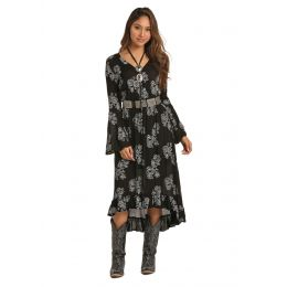 Panhandle Slim Rock & Roll Cowgirl Embroidered Faux Wrap Dress D42558