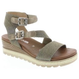 Rieker Metallic Ankle Strap Wedge Comfort Womens Sandals D6351-90