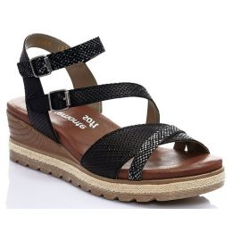 Rieker Black Ankle Strap Wedge Comfort Womens Sandals D6356-02