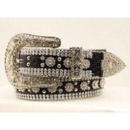 Angel Ranch Women's Black Gator Flower Concho Belt Crystals Silver Studs DA1070