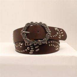 M&F Angel Ranch Brown Studded Design Womens Belt DA6324