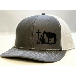 Dally Up Charcoal Grey and White Cowboy Praying Snapback Cap DALLY161