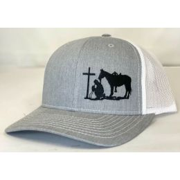 Dally Up Praying Cowboy Heather Grey and White Snapback Cap DALLY162