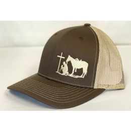 Dally Up Praying Cowboy Brown & Tan Snapback Cap DALLY165