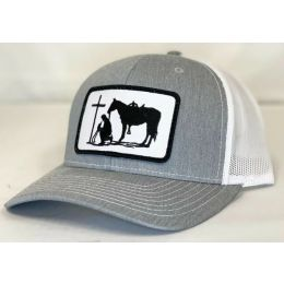 Dally Up Praying Cowboy Heather Grey and White Snapback Cap DALLY173