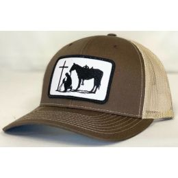 Dally Up Praying Cowboy Brown and Tan Snapback Cap DALLY174