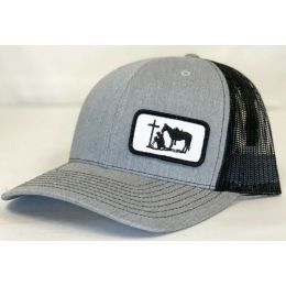 Dally Up Praying Cowboy Heather Grey and Black Snapback Cap DALLY180