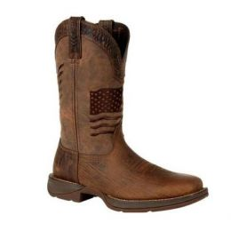 Durango Brown Rebel Distressed Flag Embroidery Western Boots DDB0314
