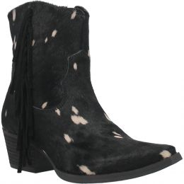 Dingo Black Hair We Go Ladies Cow Print Fringe Short Boot DI351