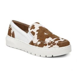 Vionic Brown Cow Print Dinora Women's Slip On Shoes DINORA-COW