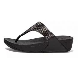 FitFlop Black Silky-Weave Womens Toe-Post Sandals DL7-001
