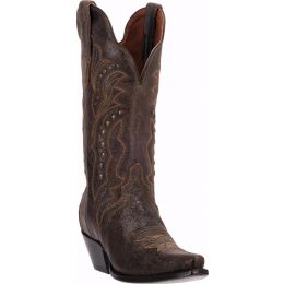 Carisma Brown Crackle Leather Dan Post Womens Western Cowboy Boots