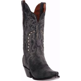 Carisma Black Crackle Leather Dan Post Womens Western Cowboy Boots