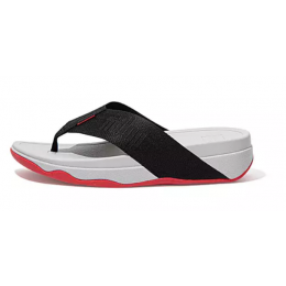 Fitflop Black Surfa Woven-Logo Toe Post Women's Sandals DU4-001