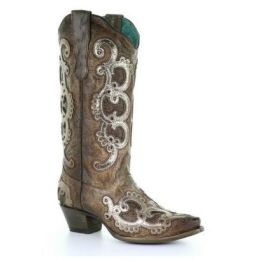 Corral Brown & Grey Overlay Embroidery & Studs Womens Boots E1509