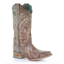 Corral Mauve Studded Floral & Crystal Square Toe Womens Western Boots E1520