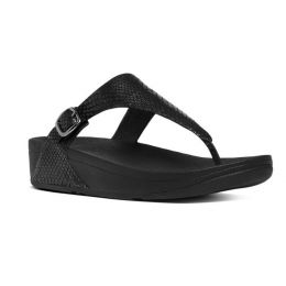 FitFlop Black The Skinny Snake-Embossed Leather Toe-Thong Womens Comfort Sandals E58-424