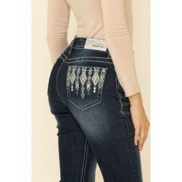 Grace in LA Dark Blue Wash Easyfit Bootcut Womens Jeans with Silver Tribal Motif EB3382SL