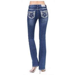 Grace in LA Women's Stitched Embroidered Easy Bootcut Jeans EB51517