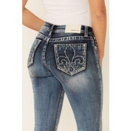Grace in LA Medium Blue Wash Fleur De Lis Womens Bootcut Jeans EB5426