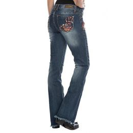 Grace In LA Floral Easy Fit Womens Bootcut Jeans EB-61243