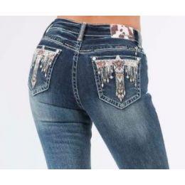 Grace in LA Medium Wash Easyfit Tribal Eagle Pocket Womens Jeans EB61476