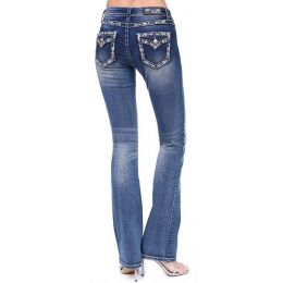 Grace in LA Women's Border Embroidered Flap Pocket Junior Bootcut Jeans EB81361