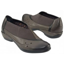 EVA Grey Leather Slip-On Stretch Panel Comfort Aetrex Womens Shoes