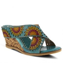 L'Artiste Turquoise Enticing Womens Slide On Sandals ENTICING